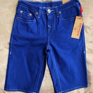 True Religion Cut-Off Twill Jean Shorts Royal Blue